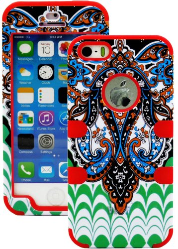 myLife (TM) Electric Crimson - Retro Paisley Series (Neo Hypergrip Flex Gel) 3 Piece Case for iPhone 5/5S (5G) 5th Generation Smartphone by Apple (External 2 Piece Fitted On Hard Rubberized Plates + Internal Soft Silicone Easy Grip Bumper Gel)