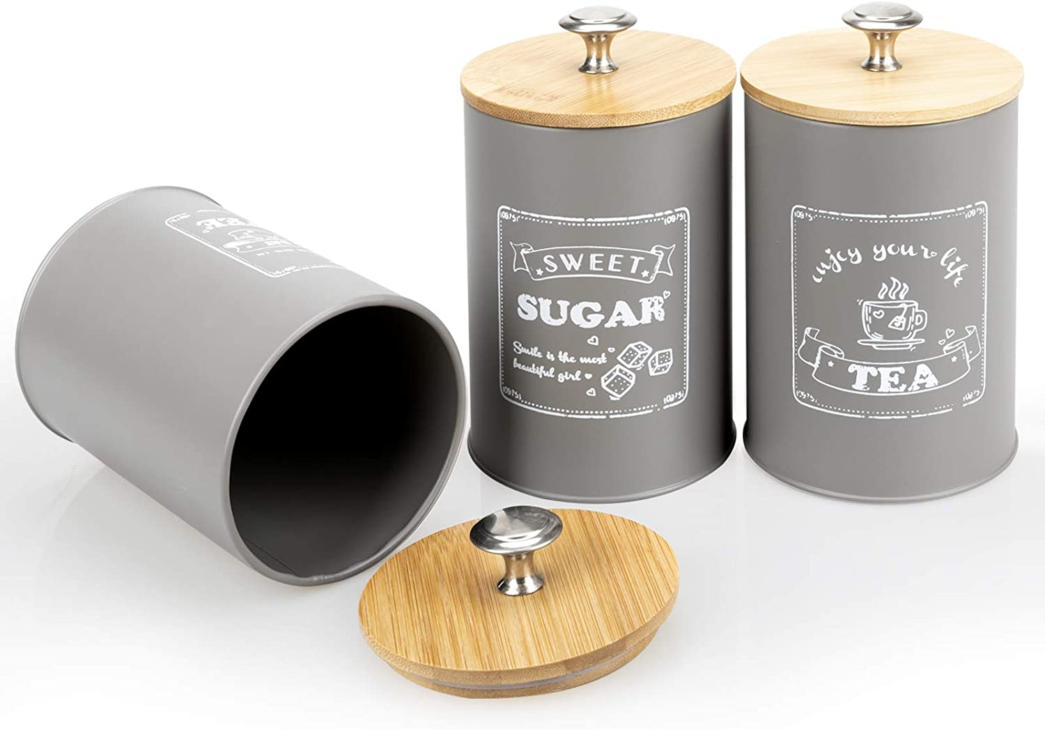 PAOPASE Set of 3 Airtight Kitchen Canister Metal Food Storage Tin With Bamboo Lid for Sugar Tea Coffee Grey