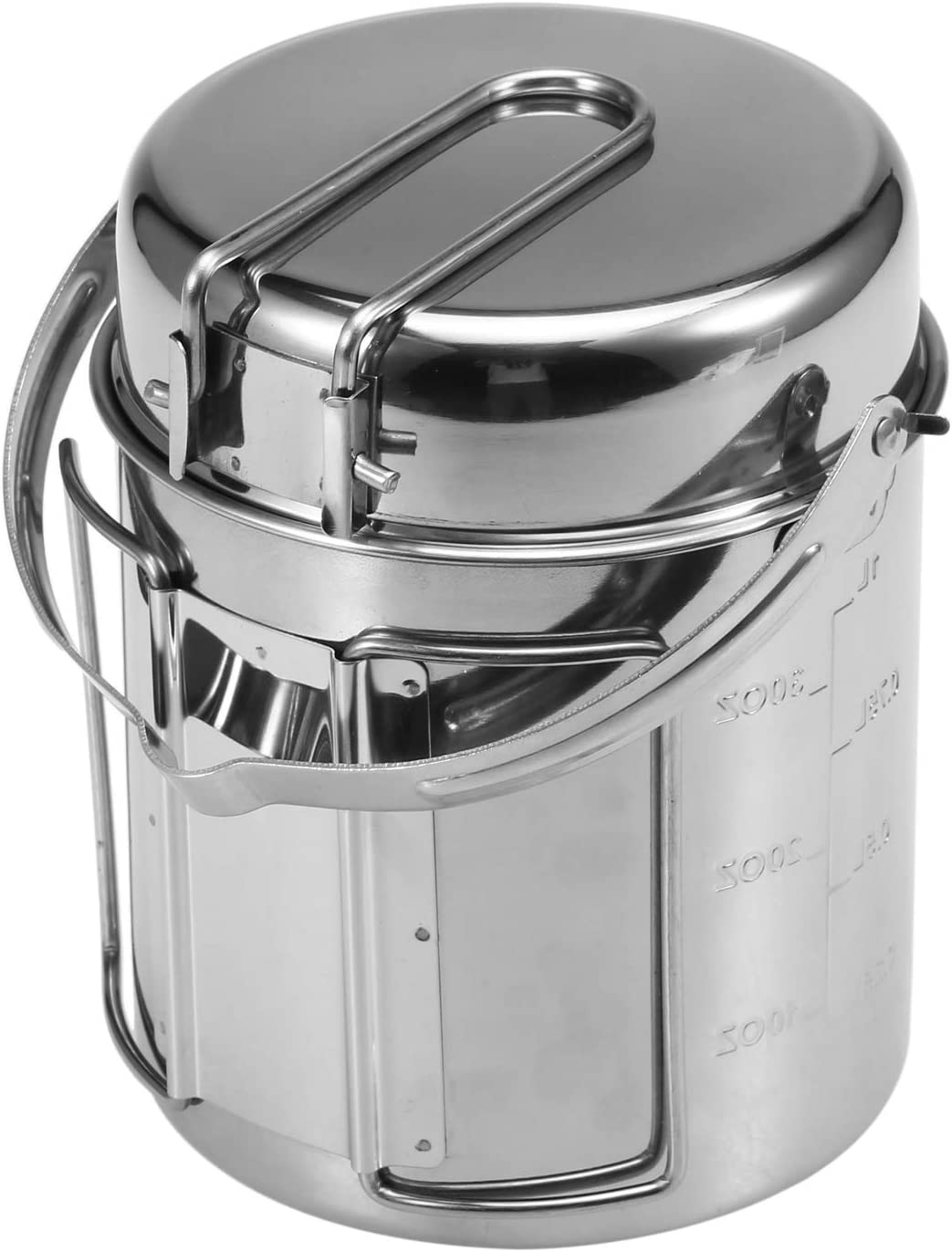 Lixada Camping Cooking Kettle 1L Stainless Steel Cookware Pot with Foldable Handle for Outdoor Camping Backpacking Picnic Hiking