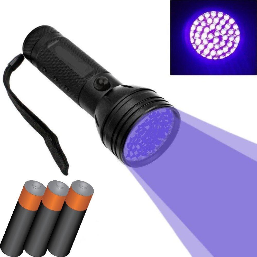 Dobo® 51LED UV Lampe torche en aluminium LED UV Détecteur de lampe ultra-violets pour Débusquer traces de taches ou urine animaux chats–3piles aAA incluses
