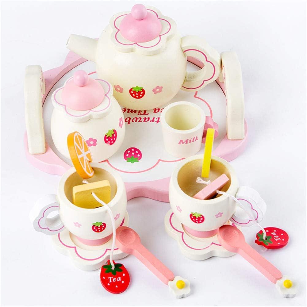 Pretend Playset Tea Set Kids Simulate Wooden Pink Tea Set Play House Educational Toy