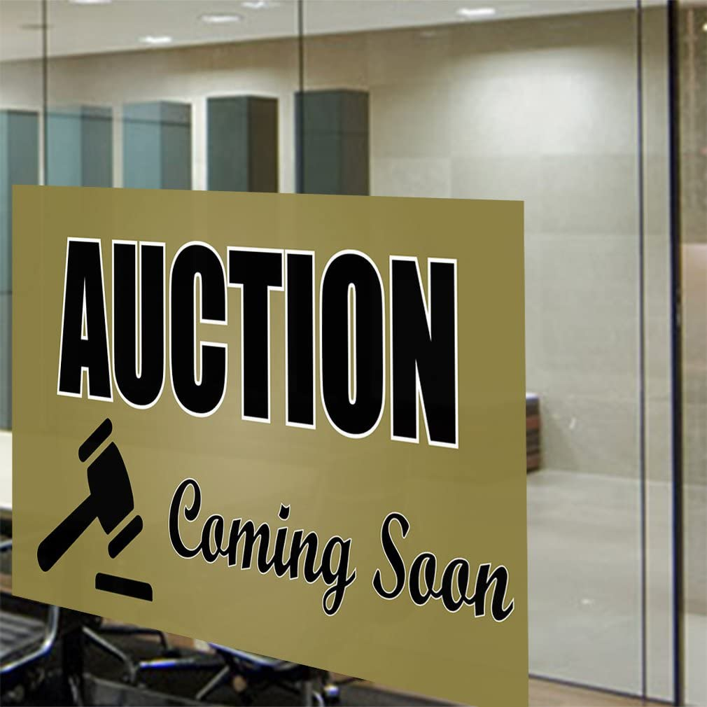 Decal Sticker Multiple Sizes Auction Coming Soon #1 Style B Business Auction Outdoor Store Sign Yellow Set of 5 27inx18in