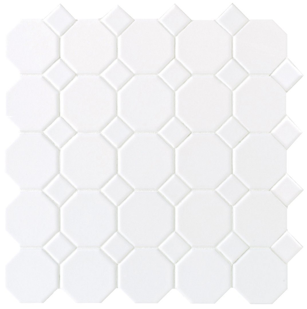 Dal-Tile 6501-1 Octagon With Dot Tile, White Mat Dot