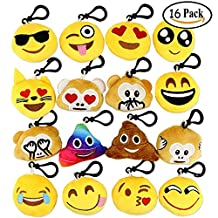 """Dreampark Emoji Keychain Mini Cute Plush Pillows Kids Party Supplies Favors, Emoticon Key Chain Toy Decorations, 2"""" Set of 16"""