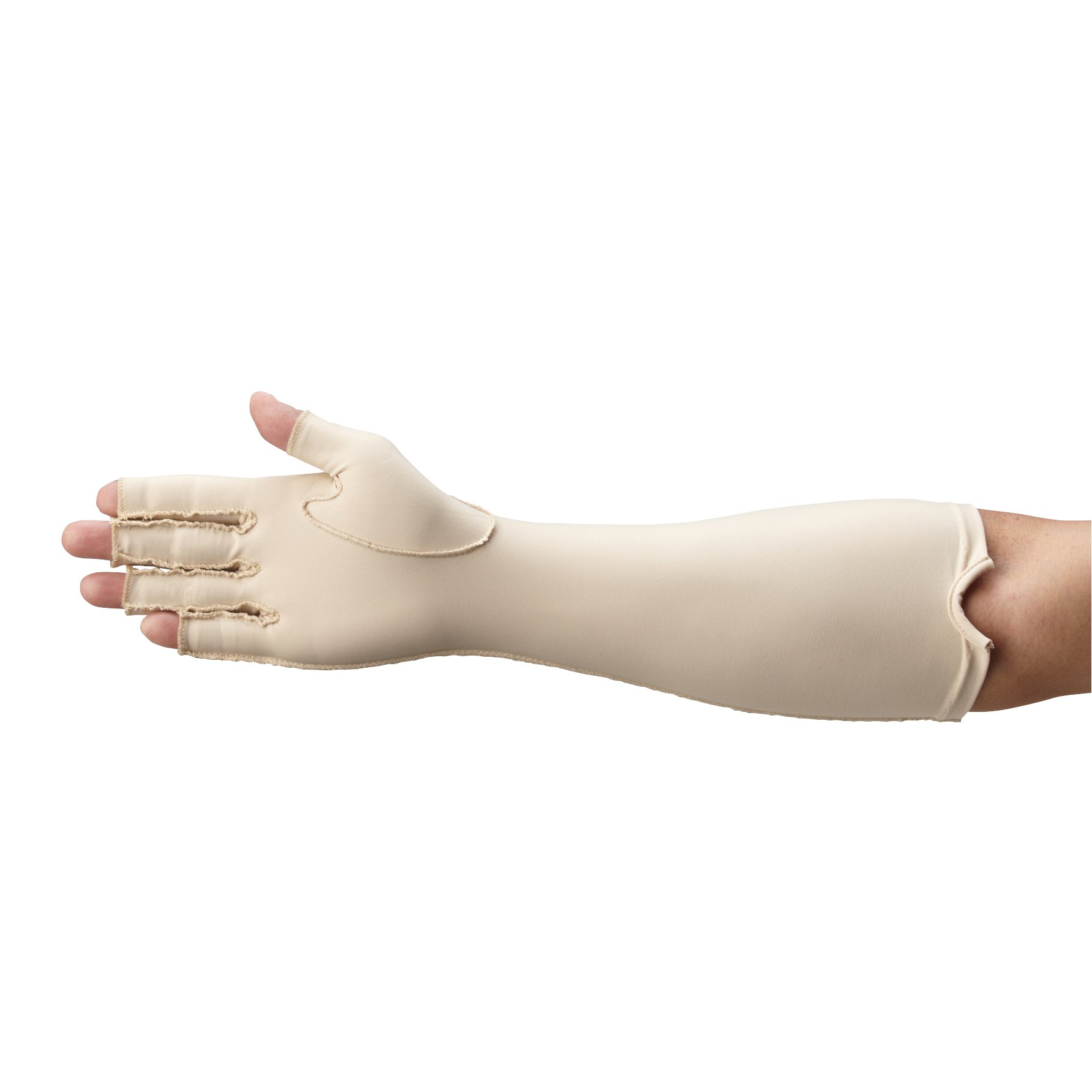 Rolyan Forearm Length Right Compression Glove, Open Finger Compression Sleeve to Control Edema and Swelling, Water Retention, and Vericose Veins, Covers Fingers to Forearm on Right Arm, Small