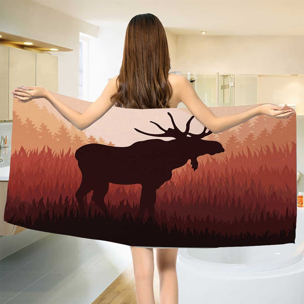 Moose Bathroom Towels Antlers in Wild Alaska Forest Rusty Abstract Landscape Design Deer Theme Woods Print Bath Pool Shower Towel for Kids Red Brown by Anshuone (Image #1)