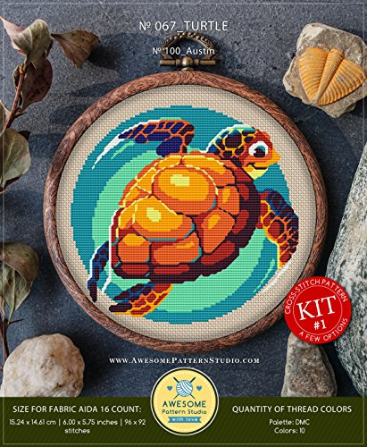 Turtle #K067 Embroidery Cross Stitch Kit | Funny Animals Cross Stitch Kits | Embroidery Kits | Needlepoint Kits | Counted Cross Stitch | Stitch Patterns ()