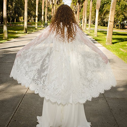 YuRong Long Bridal Shawls Wrap Lace Applique Scarf Capes Lace Cover Up C04 (Ivory) by YuRong (Image #2)