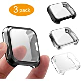 3 Packs Case Compatible Fitbit Versa, GHIJKL Ultra Slim Soft Cover Case for Fitbit Versa, Black, White, Gray