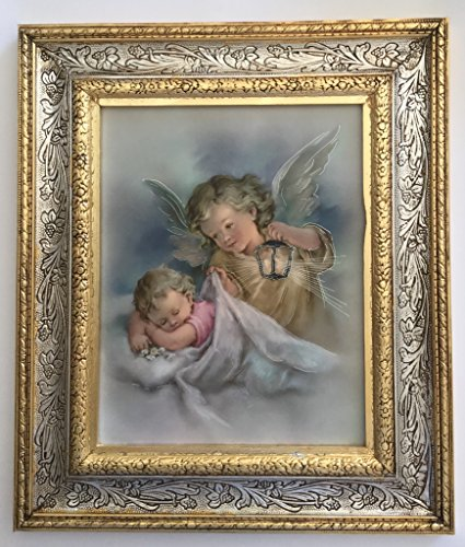 Catholic Picture Frames - Guardian Angel Beautiful Potrait Print - 13 Inch Ornate Gold Finish Frame - Authorized Copy