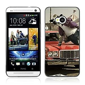CASETOPIA / Abstract Stunt Cow / HTC One M7 / Prima Delgada SLIM Casa Carcasa Funda Case Bandera Cover Armor Shell PC / Aliminium