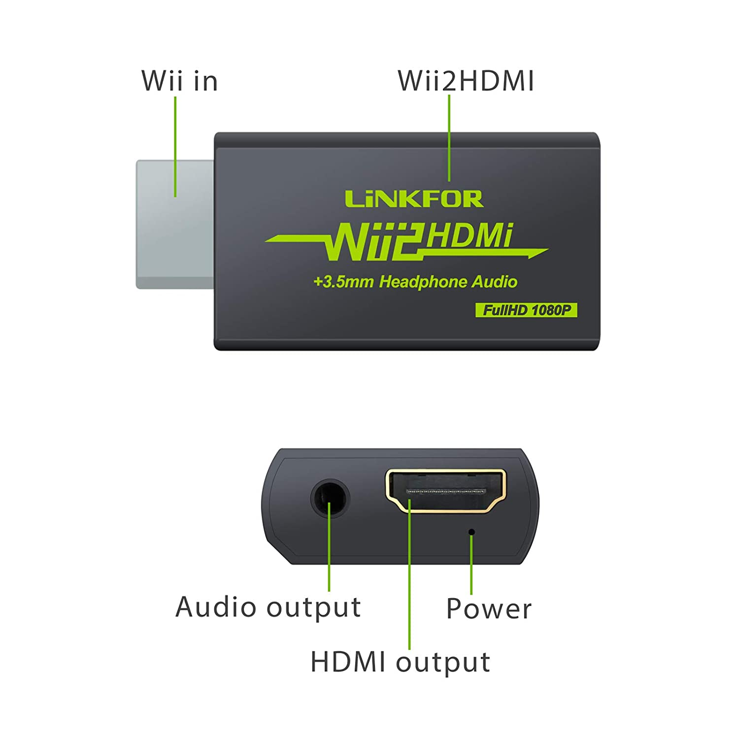 LiNKFOR Wii a HDMI Convertidor Se/ñal de Wii a HDMI Wii2HDMI 720P o 1080P Adaptador de Video HD HDTV 3.5mm Audio