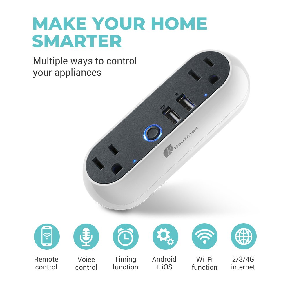 Wifi Smart Plug, Houzetek Wireless Mini Smart Outlet with 2 USB Ports Compatible with Alexa/Google Home/IFTTT, No Hub Required, Remote Control, Individual/Group Control (Android/iOS)