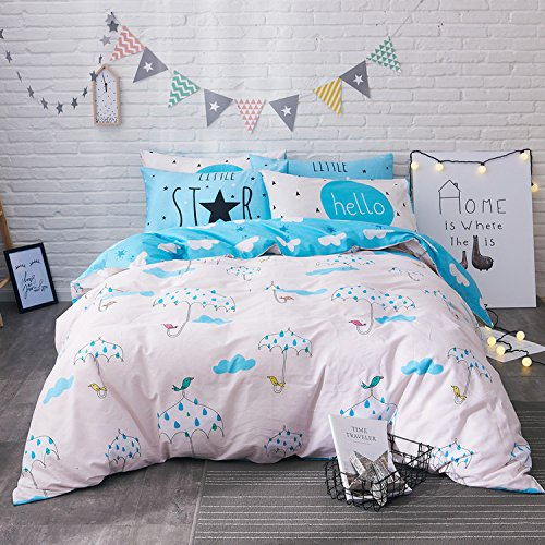 WarmGo Home Textile Duvet Cover Set Full/Queen Size 4 Piece for Adult Kids Bird & Umbrella Pattern Bedding Set with 2 Personality Pillowcase- Not Include Comforter by WarmGo