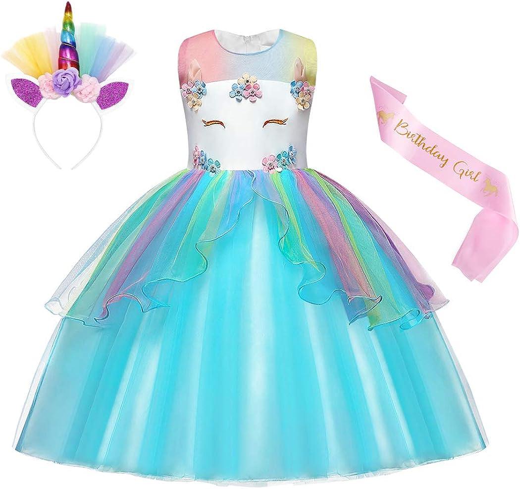 AmzBarley Girls Unicorn Dress Princess Costume Tutu Flower Halloween Cosplay Birthday Party Dress up Clothes/&Headband