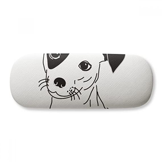 Cartoon Dog Black Illustration Pattern Glasses Case Eyeglasses Clam Shell Holder Storage Box