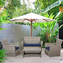 Garden and Outdoor Laurel Canyon Outdoor Patio Furniture 4 Piece Wicker Conversation Sets, Rattan Sectional Sofa Couch with Cushions and… patio furniture sets