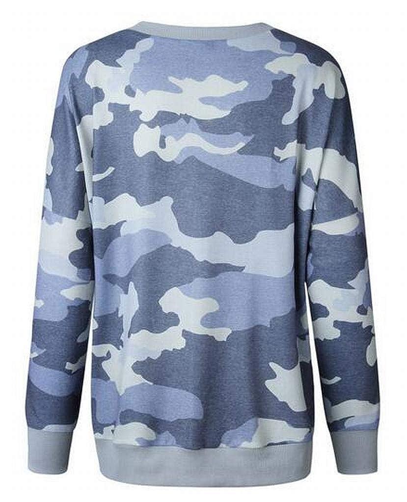 Fubotevic Women Camo Print Long Sleeve Fall Winter Plus Size Pullover Sweatshirt Tops