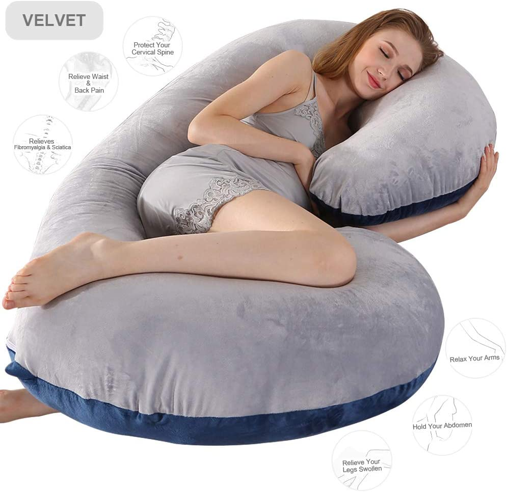 Chilling Home Pregnancy Pillow, 50 inches Maternity Pillow for Pregnant Women, Comfort C Shaped Zootzi Pillow Full Body Pillow with Removable Washable Velvet Cover, Grey