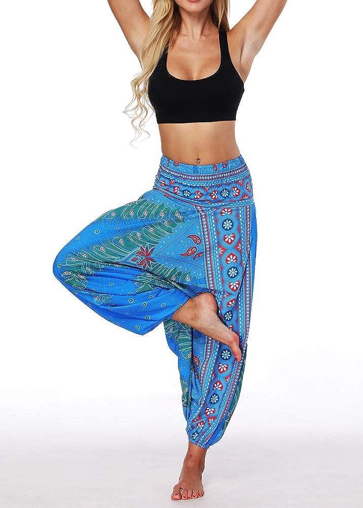 Xixiuly Women Drop Crotch Hippie Harem Pants Boho Pattern High Waist Baggy Yoga Trousers