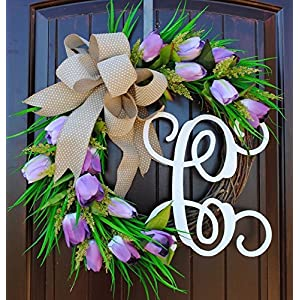 Lavender Tulip Front Door Wreath with Script Monogram for Door Decor-Mother's Day, Easter, Spring 80