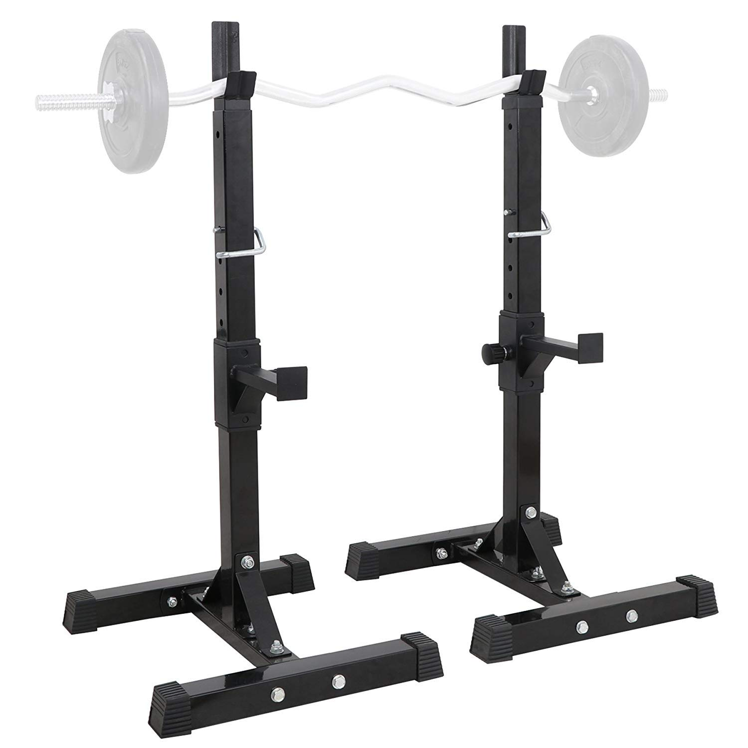 Pair of Solid Steel Adjustable Multi-Function Barbell Rack Weight Lifting Bench Press for Home Gym Weightlifting Machine GOTOTOP Barbell Rack