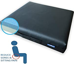 Medokare Gel Memory Foam Seat Cushion - MaxCool Gel Infused Cool Seat Cushion, Car Cushion for Pressure Ulcers, Perfect for Office Chair and Wheelchair, Waterproof Cover, Coccyx Back Pain Relief Aid