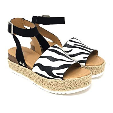 2c249df20c9 Wedge Sandals Women - Voberry® Leopard Print Ankle Strap Wide Fit ...