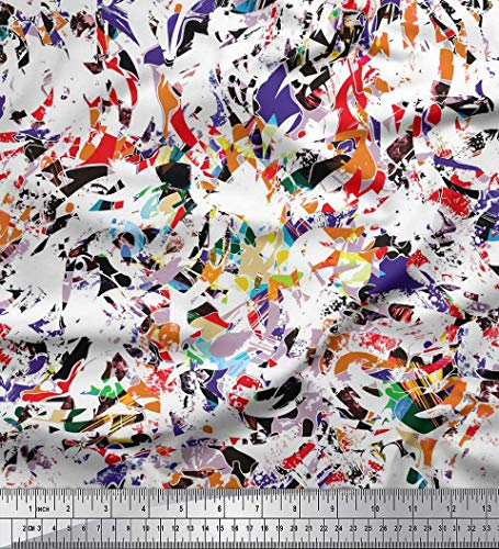 Soimoi White Cotton Voile Fabric Multicolor Texture Printed Craft Fabric by The Yard 56 Inch Wide - Printed Voile