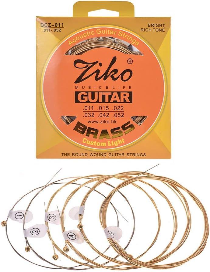Muslady ZIKO DCZ-010 Extra Ligero Cuerdas para Guitarra Acústica Hexágono Alambre de Aleación Latón Herida Resistente a la Corrosión 6 cuerdas Set Accesorios para Instrumentos Musicales
