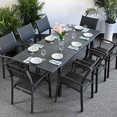 Lazy Susan Virginia Tisch & 8 Stühle - GRAU | Gartenmöbel-Set mit ausziehbarem 244cm Tisch