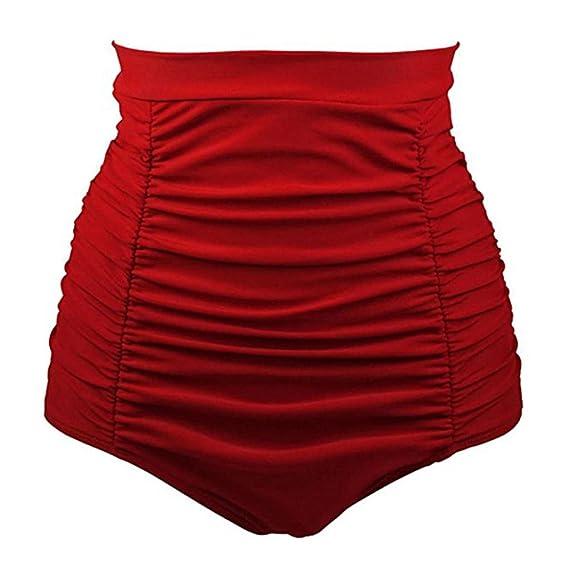 DE Damen Retro Slip Hohe Taille Bikini Bottoms Shorts Hosen Badebekleidung S-3XL