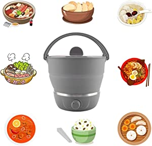 Foldable Electric Hot Pot Cooker,Multifunctional Foldable Caldron Portable Pot Household Travel Cooker 110-240V For Boiling Water Eggs, Cooking Noodles (Grey)