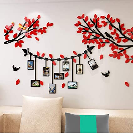 Amazon Com Red 3d Couple Acrylic Diy Tree Wall Decal For