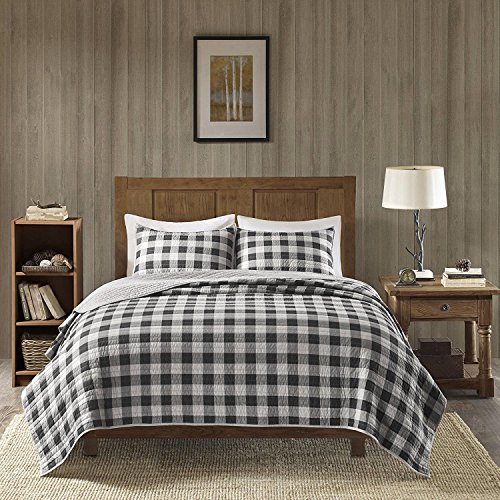 Cottage Plaid Quilt - 3pc Gray White Plaid King/Cal King Quilt Set, Black Checked Lodge Bedding Cabin Themed Horizontal Vertical Stripes Lumberjack Pattern Lake House Cottage, Cotton