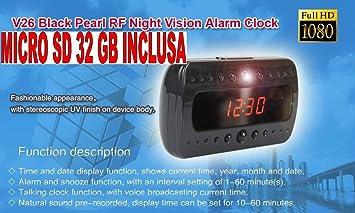 Reloj despertador con cámara + Micro SD 32 GB Reloj espía 1920 x 1080 Full HD Night Vision Motion Detector cw80 Comprare web: Amazon.es: Electrónica