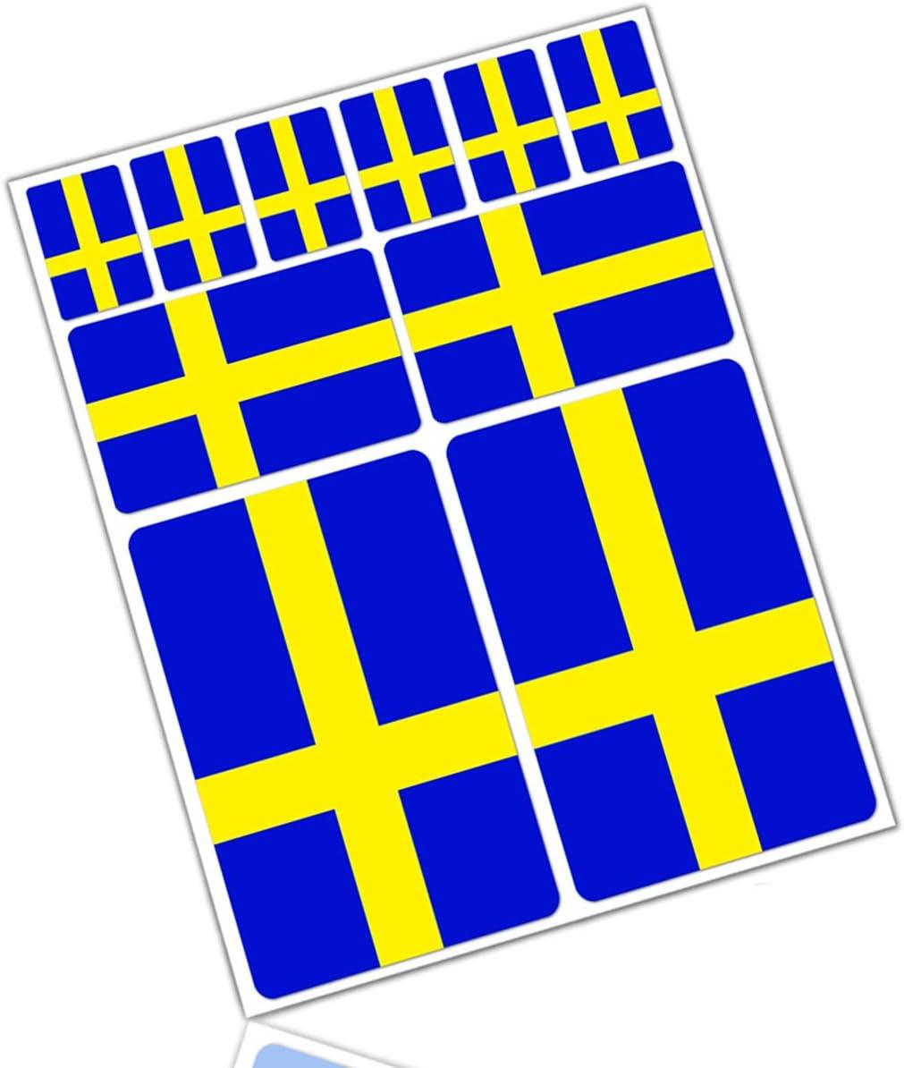 Biomar Labs 10 X Vinyl Aufkleber Autoaufkleber Stickers Fahne Flagge Sweden Schweden Schwedisch Auto Moto Motorrad Fahrrad Scooter Fenster D 25 Auto