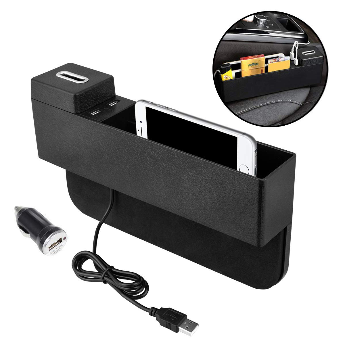 Oneuda Car Seat Side Pocket Console Organizer USB Ports Seat Gap Filler Car Interior Accessories for Cellphones Keys Cards Wallets Coins (Black) by Oneuda