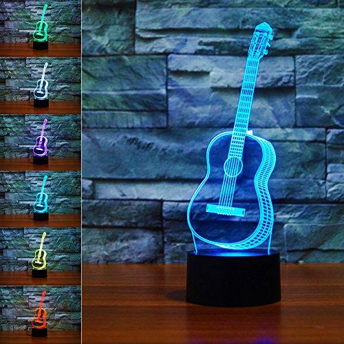 Price comparison product image WUHUHAI Guitar 3D Optical Illusion Desk Lamp for Home Decor,  Touch Button 3D Optical Illusion Lamp with 7 Color Light,  3D Light Gift for Friend,  Child (Guitar)