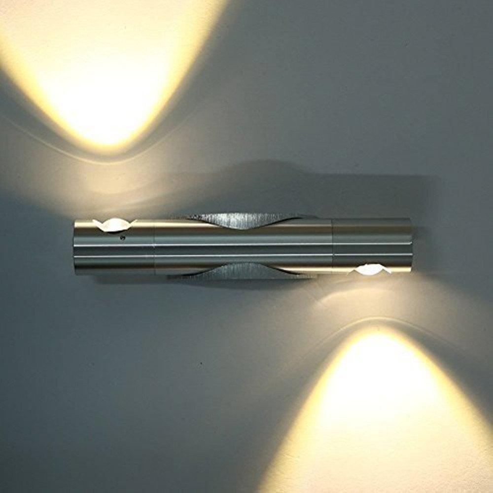 Glighone Modern LED Wall Light Sconce Up Down Wall Lights Angle Adjustable Wall Lamp for Living Room Bedroom Bathroom Corridor Wall Lighting, 6W Aluminum Cool White [Energy Class A++] GL-000009
