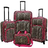 U.S. Traveler Fashion Leopard 4 Piece Spinner Luggage Set (Leopard with Fuchsia, Bags Central