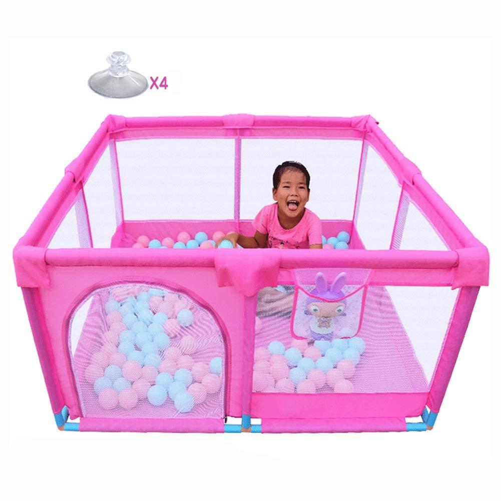 マットレス付きのベビープレイペンター、幼児、少年のためのポータブルプレイグラウンドガールズセーフティアンチコリジョンラージキッズプレイヤード、ピンク   B07KZCYFD2