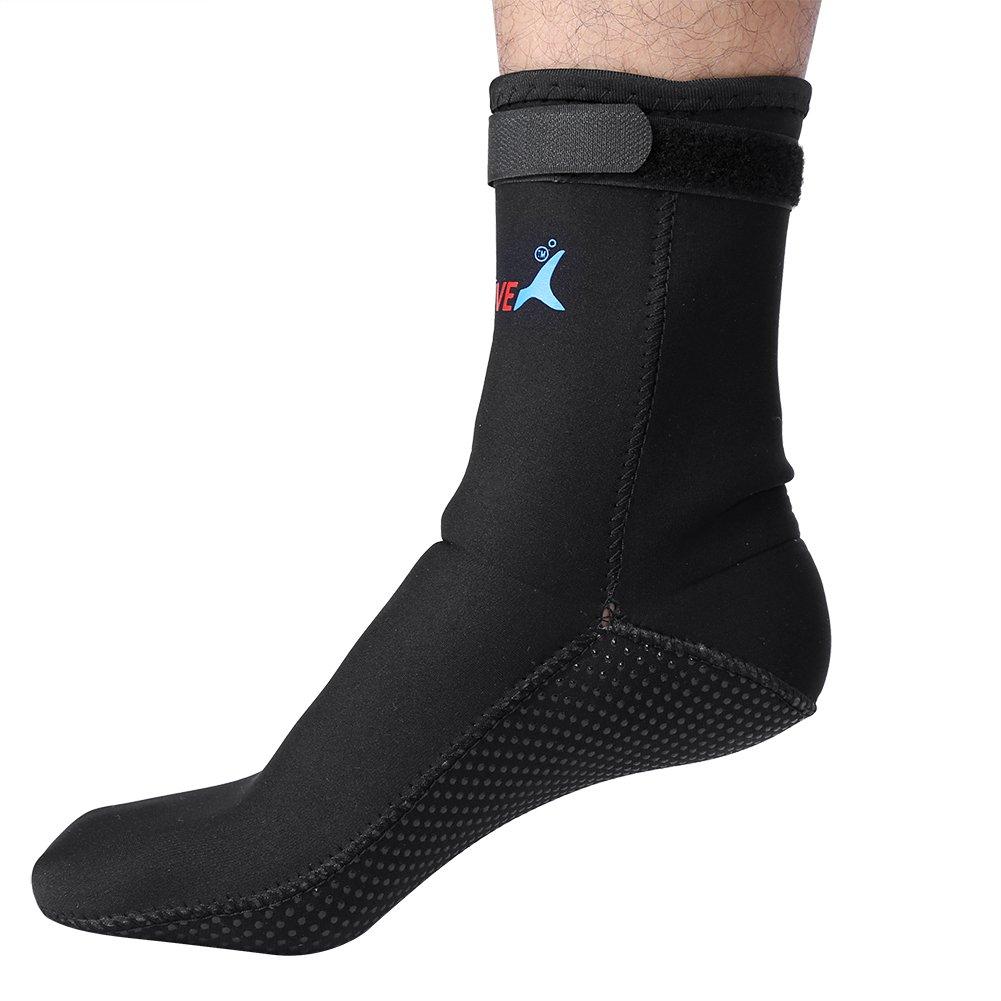 Anti-Skid Swimming Surfing Snorkeling Neoprene Beach Socks Boots Water Sports Diving Socks L-Black