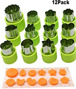 Cofe-BY DIY Veggies Cutter set 12pcs, Flower Star Animals Shapes Mini Fruit Cutters Decorating Kits for Cookies Fondant Cake Decoration Kids Food Bento Box Baking Supplies Home Essentials