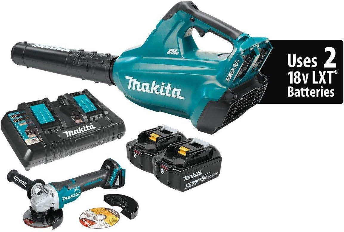Makita XBU02PTX1 18V X2 36V LXT Lithium-Ion Cordless 5.0Ah and Brushless Blower Kit and Angle Grinder