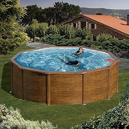 Pool Juego de Feeling redondo 350x 120cm Aspecto de Madera