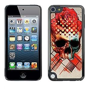 Paccase / SLIM PC / Aliminium Casa Carcasa Funda Case Cover - Rose Skull Death Ink Tattoo Red Rose - Apple iPod Touch 5