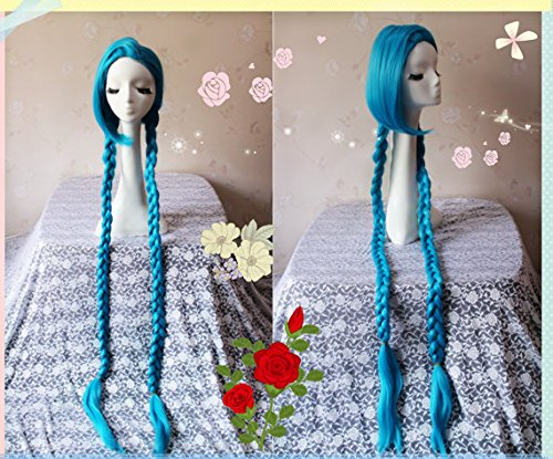 110CM Long Blue Braid LOL New Hero Jinx Cosplay Wig, Costume Wigs for Party (Jinx Costumes)