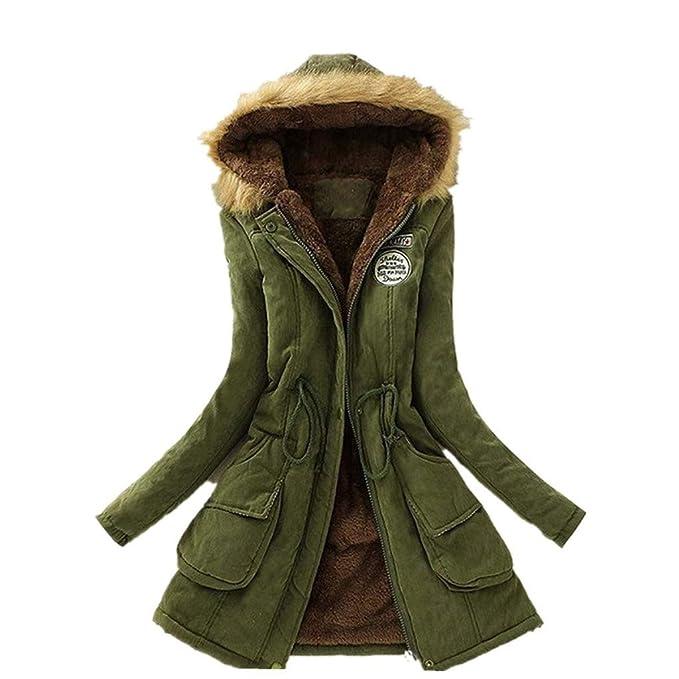OPAKY Abrigo Largo Cálido para Mujer Chaqueta con Cuello de ...