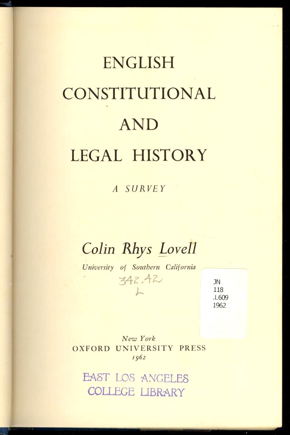 English constitutional and legal history,: A survey, Lovell, Colin Rhys